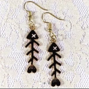 3/$15 Gold Tone Fish Bone Earrings